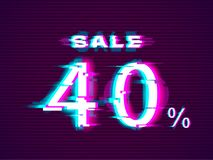 Glitched Sale up to 40 off. Distorted Glitch Style Modern Background royalty free illustration