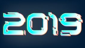 Glitched shining vector 2019 new year background vector illustration