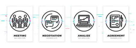 Glitched team, conversation, notebook, contract icons set. royalty free illustration