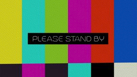 Glitched transmission, distorted noisy signal of SMPTE color bars a television screen test pattern with the text. Please stand by. 4k video stock video footage