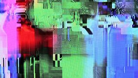 Glitches, digital noise and distortion on the LCD TV. Glitches, digital interference and distortion on the LCD TV screen stock video