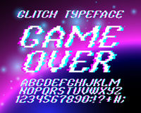 Glith typeface Game Over. On the background of star galaxy. Glitched font and numbers set vector illustration
