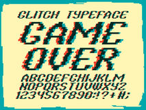 Glith typeface Game Over. Glitched font and numbers set royalty free illustration