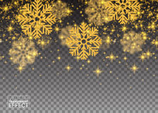 Glitter Abstract Pattern Random Falling Gold Snowflakes Stock Image