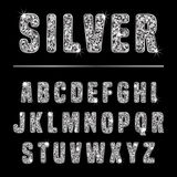 Glitter alphabet silver Royalty Free Stock Photo