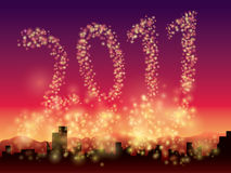 Glitter Background 2010. Illustration of a beautiful night sky above the city with glittering lights, forming the numbers 2010 stock illustration