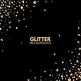Glitter background. Bright Merry Christmas frame. Golden sparkle on black backdrop. Falling glitter confetti. Vector royalty free illustration