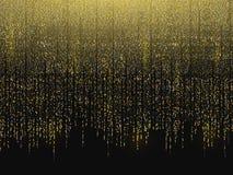 Glitter background. Gold garlands falling down. Christmas background. Golden sparks on a black backdrop. Luxury. Celebrations template. Gold vertical lines stock illustration