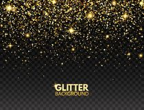 Glitter background. Gold glitter particles effect for luxury greeting card. Sparkling texture. Christmas bright design for web ban. Ner, poster, flyer stock illustration