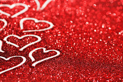 Glitter background with hearts Stock Photo