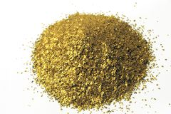 Glitter background placer gold. Lots of glitter alluvial gold found in France Stock Image