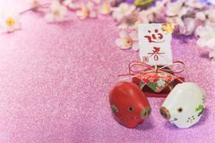 Glitter background with sakura cherry blossoms for japanese New royalty free stock image