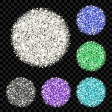 Glitter background set. Sparkle vector circles of different colors for your text on black backdrop. Template for your design of card, gift, vip, voucher Royalty Free Stock Image
