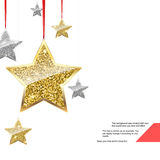 Glitter Background with Silver and Gold Hanging Stars. Stock Image