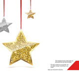 Glitter Background with Silver and Gold Hanging Stars. Royalty Free Stock Images