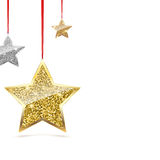 Glitter Background with Silver and Gold Hanging Stars. Stock Photos