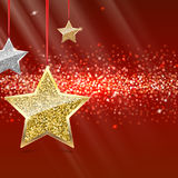 Glitter Background with Silver and Gold Hanging Stars. Glitter background with ilver and gold hanging stars. Merry Christmas and Happy New Year background Stock Images