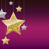 Glitter Background with Silver and Gold Hanging Stars. Stock Photo