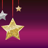 Glitter Background with Silver and Gold Hanging Stars. Royalty Free Stock Photos