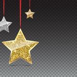 Glitter Background with Silver and Gold Hanging Stars. Royalty Free Stock Photography