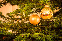 Glitter Ball on Christmas Tree Stock Photo