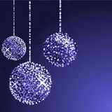 Glitter balls in blue color Royalty Free Stock Photo