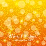 Glitter with bokeh. Vector Christmas card. Glitter and bokeh on golden background Stock Photography