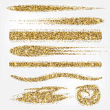 Glitter brush collection. Set of different golden line brushes. Good for wedding, birthday party, fashion, rich, luxury design. Royalty Free Stock Photography