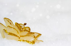 Glitter candle and snow Royalty Free Stock Image