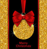 Glitter Card with Christmas Ball Stock Image