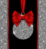 Glitter Card with Christmas Ball and Red Bow Ribbon Royalty Free Stock Photos