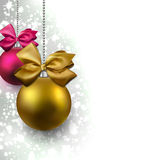 Glitter christmas background with balls. Royalty Free Stock Image