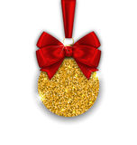 Glitter Christmas Ball with Golden Surface. Illustration Glitter Christmas Ball with Golden Surface and Twinkle, on White  Background - Vector Stock Image