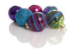 Glitter Christmas balls. Taken in a studio with a white background royalty free stock image