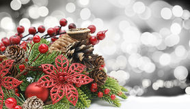 Glitter Christmas decorations Stock Photo