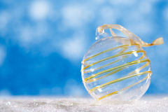 glitter christmas glass ball with abstract snow Stock Photo