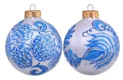Glitter christmas gzhel ball Royalty Free Stock Images