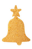 Glitter christmas mas bell decoration isolated on white Royalty Free Stock Image