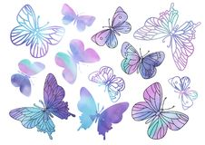 Fairy Clipart PURPLE BUTTERFLIES Color Vector Illustration Magic Beautiful Picture Paint Drawing Set Scrapbooking Golden vector illustration