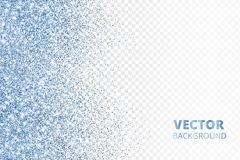 Glitter confetti falling from the side. Blue vector dust, explosion on transparent background. Sparkling border, frame. Great for wedding invitations, party stock illustration