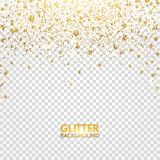 Glitter confetti. Gold glitter falling on transparent background. Christmas bright shimmer design. Glowing particles effect for lu. Xury greeting card. Vector stock illustration