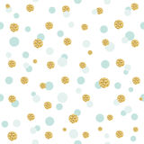 Glitter confetti polka dot seamless pattern background. Golden and pastel blue trendy colors. For birthday and scrapbook Royalty Free Stock Photos