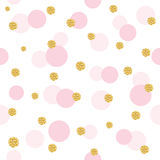 Glitter confetti polka dot seamless pattern background. Golden and pastel pink trendy colors. For birthday, valentine