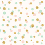 Glitter confetti polka dot seamless pattern. Stock Photo