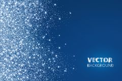 Glitter confetti, snow falling from the side. Vector dust, explosion on blue background. Sparkling border, frame. royalty free illustration