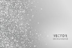 Glitter confetti, snow falling from the side. Vector silver dust, explosion on grey background. Sparkling border, frame. Great for wedding invitations, party