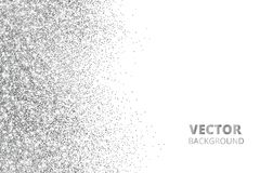 Glitter confetti, snow falling from the side. Vector silver dust, explosion isolated on white. Sparkling border, frame. Great for wedding invitations, party stock illustration