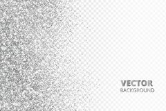 Glitter confetti, snow falling from the side.Vector silver dust isolated on transparent background. Sparkling border royalty free illustration