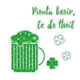 Glitter, confetti St. Patrick Day template Stock Photography