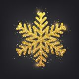 Glitter covered gold snowflake with on transparent background g ilustración del vector